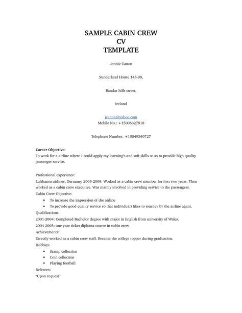 Resume Format For Cabin Crew] Cabin Crew Resume Example Examples