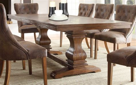 Rustic Dining Room Tables Homelegance Louise Dining Set Rustic Oak Brown