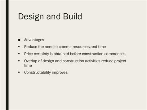 design and build contract advantages and disadvantages procurement strategies a seminar
