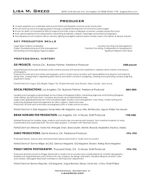 Producer Resume by Producer Resume