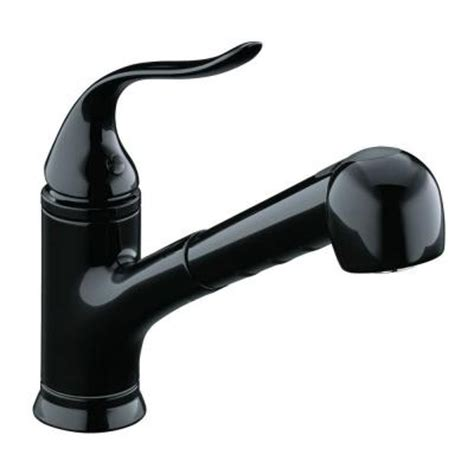 single hole kitchen faucet with pull out spray kohler coralais 1 or 3 hole single handle pull out sprayer kitchen faucet in black black with