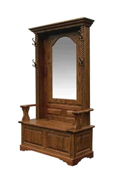 hall trees with bench antique hall tree storage bench home furniture design