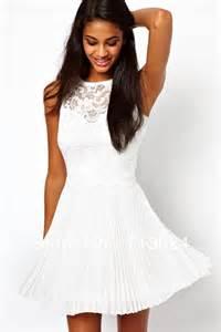 Long short white lace summer dress 2015009