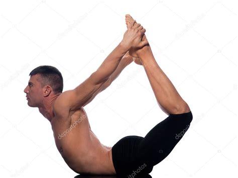 upward bow pose man urdhva dhanurasana upward bow pose yoga stock photo