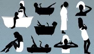 Black Clawfoot Bathtub Young Woman In Bathroom Vector Download Now
