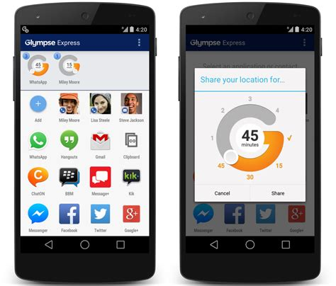 glympse android glympse launches android only glympse express for