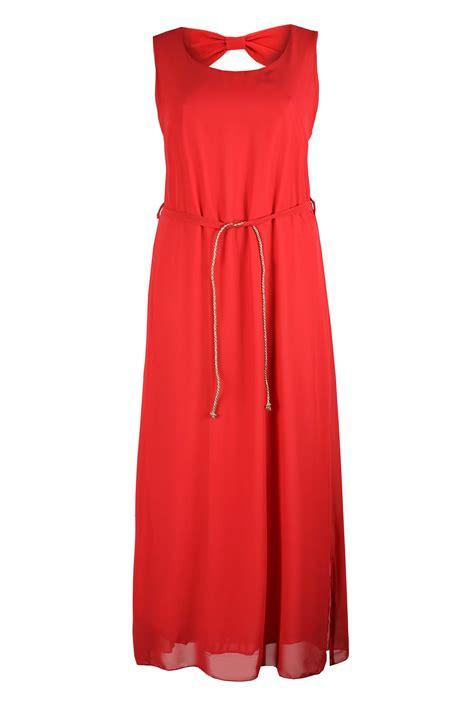 koko maxi dress with gold belt bow detail