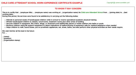 Work Experience Letter Care Home Child Care Attendant School Experience Letter Sle