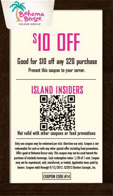 Bahama Breeze Coupons Printable | 10 off 20 at bahama breeze restaurants coupon via the
