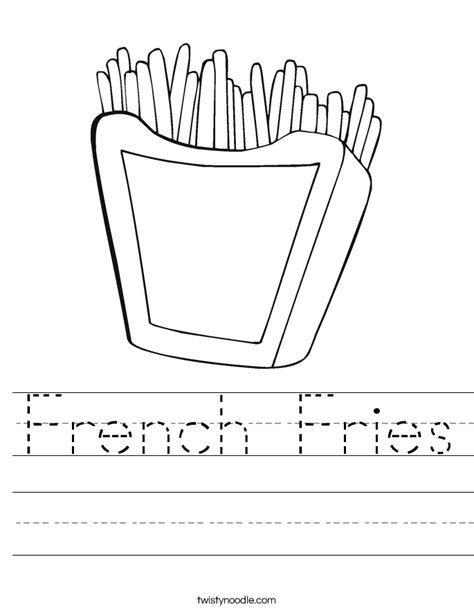 french fries worksheet twisty noodle
