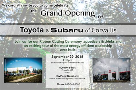 Toyota Of Corvallis Ecologue Toyota Of Corvallis Grand Opening September