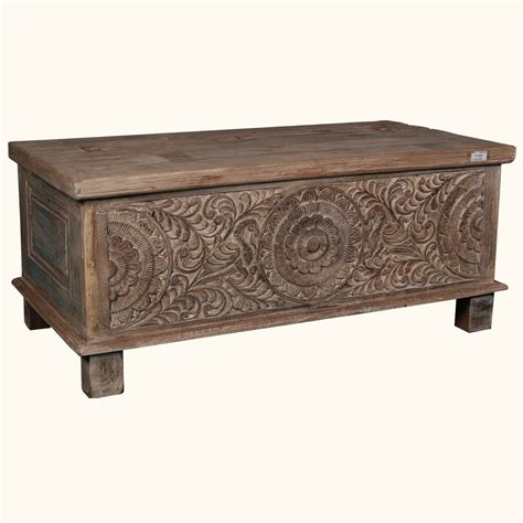 Storage Chest Coffee Table Rustic Carved Reclaimed Wood Coffee Table Trunk Storage Chest Box Ebay