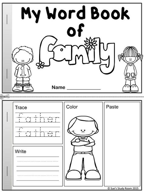kindergarten activities on family my word book of family members english worksheets and