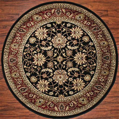 5 Foot Round Area Rug Rugs Mahal Black Claret Red Border Pnd Rugs