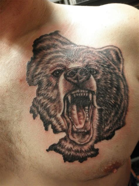 grizzly bear tattoo grizzly on chest tattooshunt