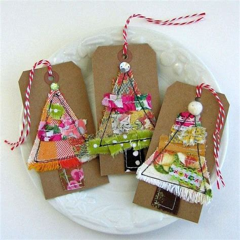 fabric crafts gifts fabric tags fabric scrap christmastree by