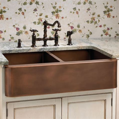 Copper Farmhouse Kitchen Sinks Aberdeen Smooth Well Farmhouse Copper Sink Traditional Kitchen Sinks By Signature