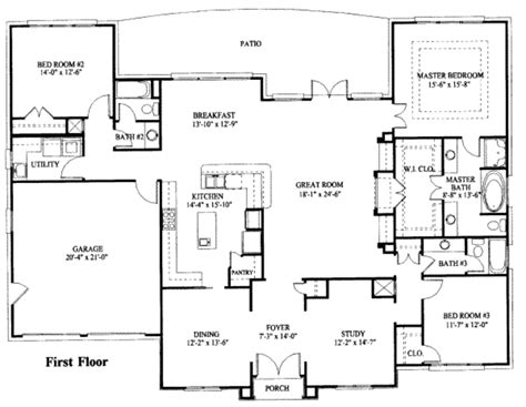1 floor home plans mediterranean style house plan 3 beds 3 baths 2584 sq ft