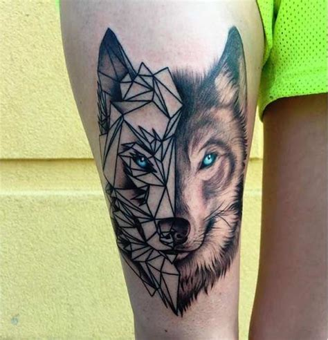 25 amazing geometric amp dotwork wolf tattoos geometric