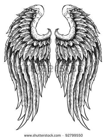 Hand drawn angel wings (com imagens) | Tatuagem de asas