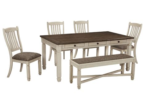 dining room table with 4 chairs and bench furniture more galleries bolanburg antique white