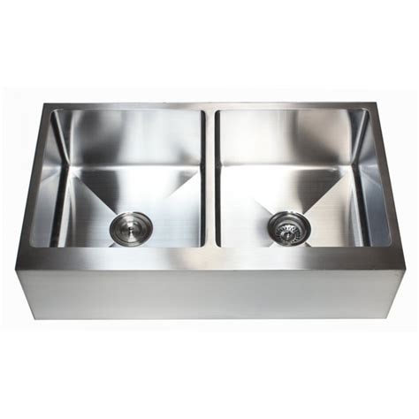 36 Inch Stainless Steel Flat Front Farm Apron 50 50 Double Metal Kitchen Sinks