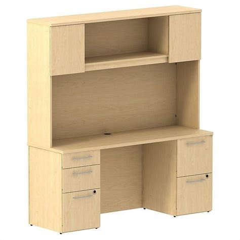 Bush Business 300 Series 66 Quot Desk With Hutch In Natural Maple Desk With Hutch