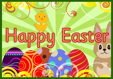 printable happy easter poster a4 easter poster 2 free early years primary teaching