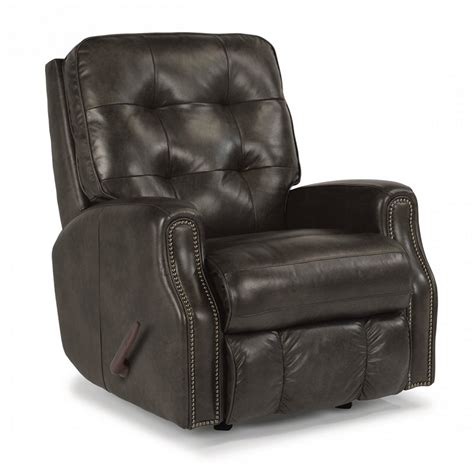 leather recliner with nailhead trim flexsteel 3881 51 devon leather rocking recliner with