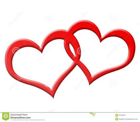 imagenes de 2 corazones unidos dos corazones rojos unidos juntos stock de ilustraci 243 n