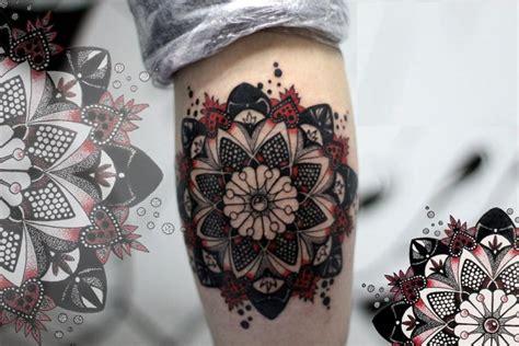 mandala tattoo red black and red mandala tattoo on leg