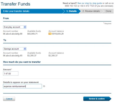 transferring funds between bank accounts anz better banking