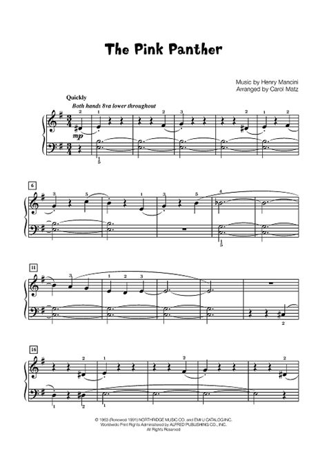 tutorial piano pink panther the pink panther late elementary piano sheet music for