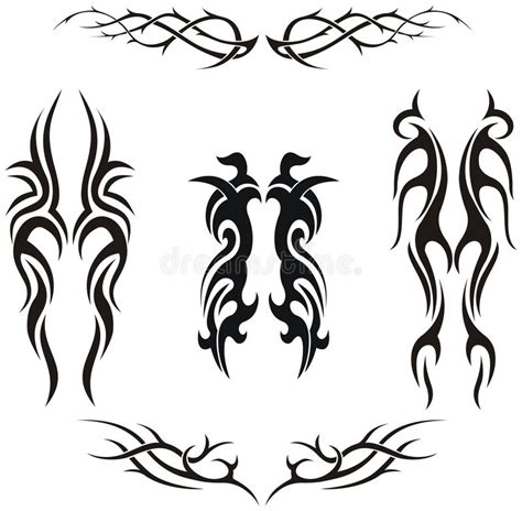 set of tribal abstract tattoos vector free download set of tribal vector tattoos stock vector illustration