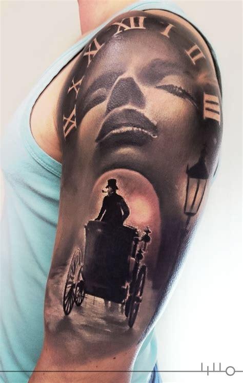 clock face tattoos designs rainer lillo sleeve in progress clock black and