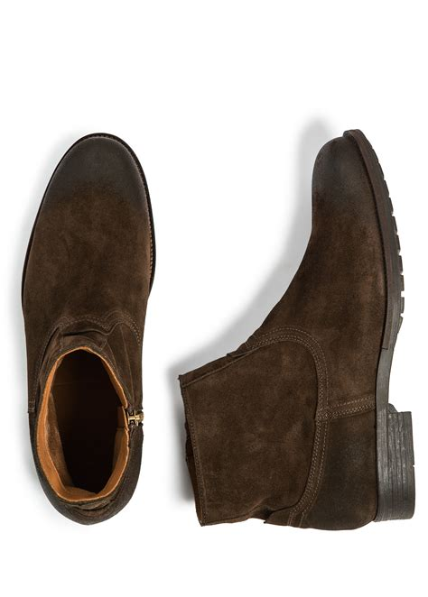 suede ankle boots mens lyst mango zipped suede ankle boots in brown for