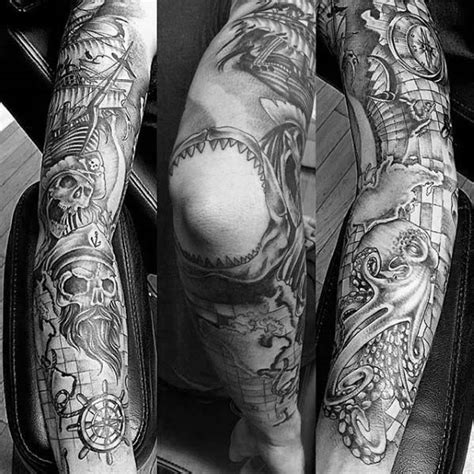 mens sleeve tattoo designs black and grey 40 nautical sleeve tattoos for seafaring ink deisgn