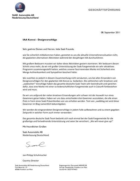 Anschreiben Brief Saab Iaa Convoi Anschreiben Saabblog Net