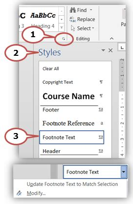 modify footnote text style modifying footnote text western sydney university