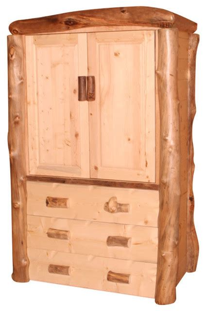 clothing wardrobes armoires silver creek aspen log wardrobe armoire with clothing rod