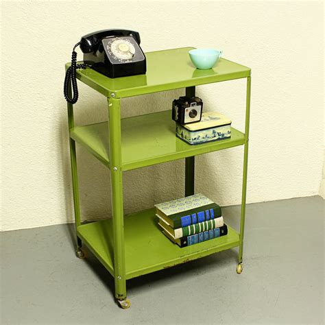 vintage metal cart serving cart kitchen cart green