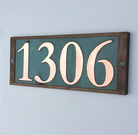 design house numbers uk large real copper house numbers 6 150mm high in oak frame