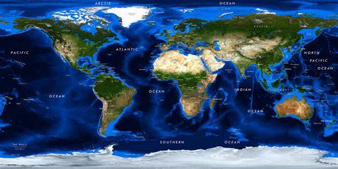 world satellite image giclee print  bathymetry