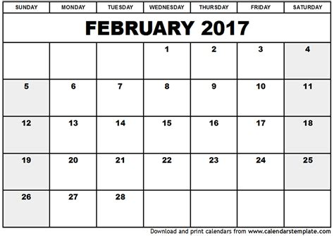 Calendar 2017 Excel February February 2017 Calendar Excel Yearly Calendar Printable