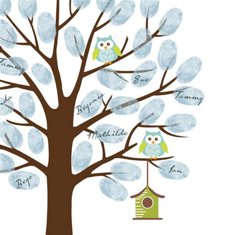 thumbprint baby shower tree owl thumbprint tree guest book poster printable baby shower