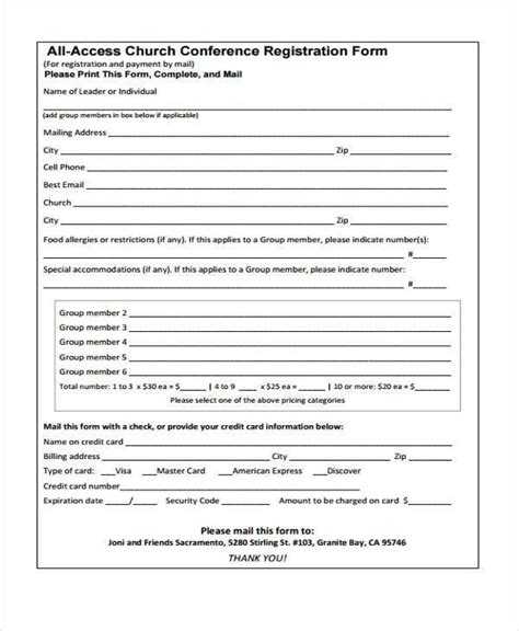 8 Conference Registration Form Sles Free Sle Exle Format Download Conference Registration Form Template Free