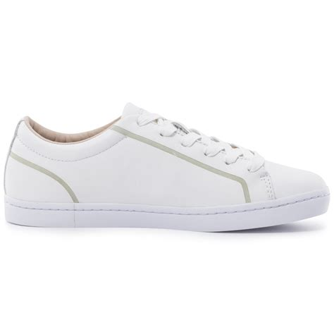 lacoste straightset 116 womens leather white trainers