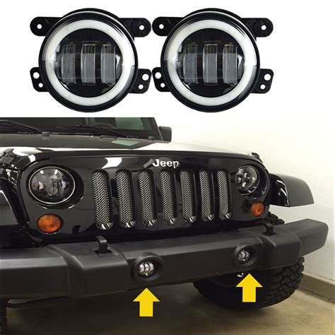 jeep tj led fog lights 4 quot inch 2x 30w led fog light white halo for jeep wrangler