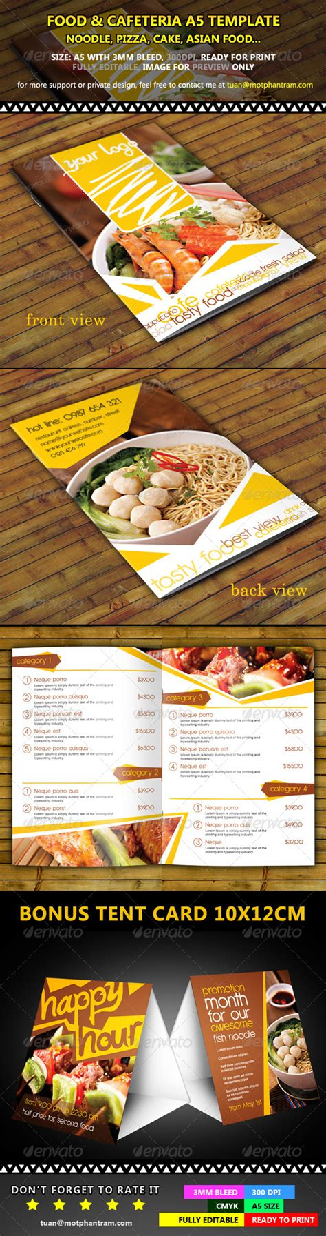 restaurant menu a5 fold vol 1 graphicriver