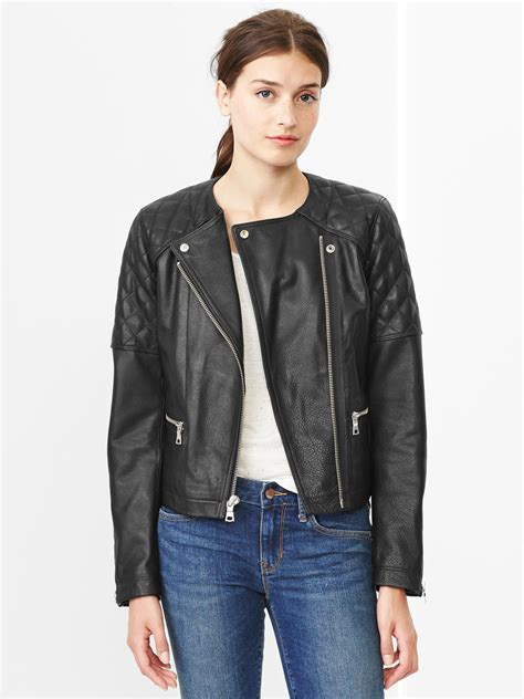 Gap Quilted Jacket by Gap Quilted Leather Moto Jacket In Black True Black Lyst
